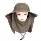 Unisex 360° Sunscreen UV Care Removable Hat Cap - Army Green