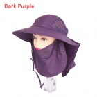 Unisex 360' Sunscreen UV Care Removable Outdoor Hiking Fishing Hat Cap - Dark Purple