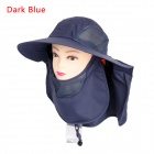 Unisex 360' Sunscreen UV Care Removable Outdoor Hiking Fishing Hat Cap - Dark Blue