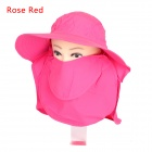 360 Degree Sunproof UV Care Removable Outdoor Hiking Fishing Hat Cap - Deep Pink
