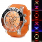 Cool Colorful Light Changing Plastic Wristband Analog Quartz LED Watch - Orange (1 x 377)