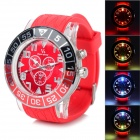Cool Colorful Light Changing Plastic Wristband Analog Quartz LED Watch - Red (1 x 377)