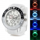 Cool Colorful Light Changing Plastic Wristband Analog Quartz LED Watch - White + Black (1 x 377)