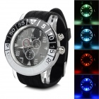 Cool Colorful Light Changing Plastic Wristband Analog Quartz LED Watch - Black + Silver (1 x 377)