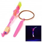 LED Light-up Flying Rotation Rubberband Slingshot Helicopter Toy for Kids / Children - Deep Pink