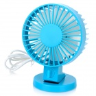 Silent Dual-Motor Double-Sided Blades USB 2.0 2-Mode Mini Desk Table Fan - Blue