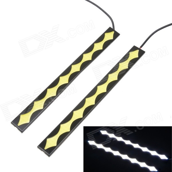 Wired 8W COB 6500K 450lm White Car Lamp (12V / 2PCS)Decorative Lights / Strip<br>Color BINWhiteModelN/AQuantity2 DX.PCM.Model.AttributeModel.UnitMaterialAluminum + ABSForm  ColorBlackEmitter TypeCOBChip BrandOthers,N/AChip TypeCOBTotal Emitters8Power8WColor Temperature6500 DX.PCM.Model.AttributeModel.UnitActual Lumens450 DX.PCM.Model.AttributeModel.UnitRate Voltage12VWaterproof FunctionYesConnector TypeOthers,WiredApplicationDaytime running lightPacking List2 x Daytime running lights (Cable-50cm)<br>