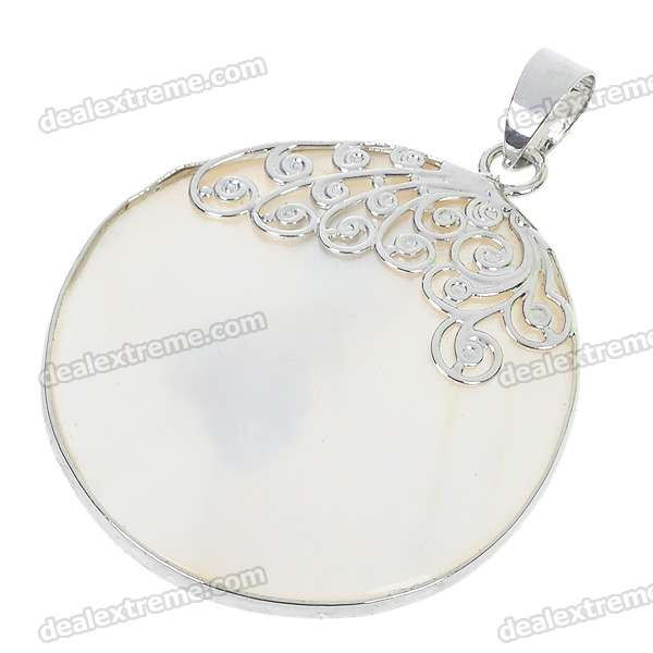 Elegant Natural Mother of Pearl Round Pendant long natural mother of pearl necklace magenta
