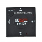 CHEERLINK 3 x 1 3D 1080P HDMI Mini V1.4b Switch - preto