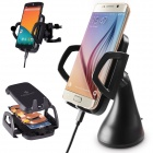 MO.MAT 3-Coils Wireless Car Charger with 2 Car Brackets for Smartphone - Black