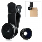 3-In-1 185 Degree Fisheye + 0.65X Wide Angle + 10X Macro Lens for IPHONE + More - Black