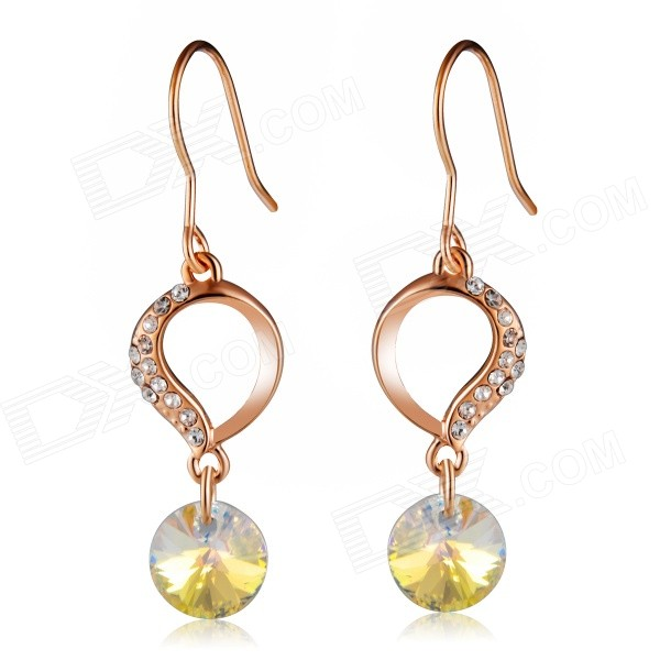 Women's Water Drop Shaped Shining Crystal Earrings - Rose Gold (Pair)