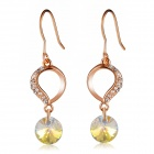 Women's Trendy Water Drop Shaped Shining Crystal Earrings - Rose Gold (Pair)