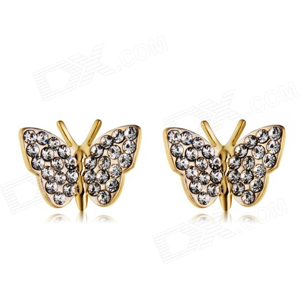 Trendy Butterfly Style Crystals Ear Studs Earrings - Golden (Pair)Earrings<br>Form  ColorGoldenModelN/AQuantity1 DX.PCM.Model.AttributeModel.UnitShade Of ColorGoldMaterialAlloy + crystalGenderWomenSuitable forAdultsLength1 DX.PCM.Model.AttributeModel.UnitWidth1.4 DX.PCM.Model.AttributeModel.UnitPacking List1 x Pair of earrings<br>