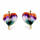 Women's Fashionable Porcelain Painting Elm Leaf Style Alloy Earrings Ear Studs - Golden (Pair)