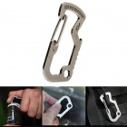 D-Type Stainless Steel Bottle Opener Buckle Carabiner - Silver