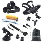 8-in-1 Outdoor Sports Stirnband + Brustgurt + Einbeinstativ Kit für GoPro Hero 4/3 + / 3 / 1.2 - Schwarz