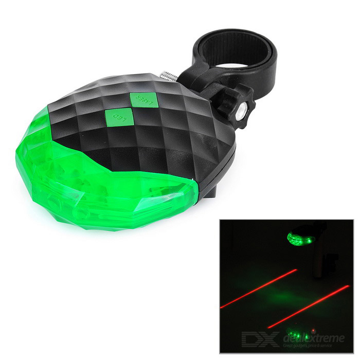 7-Mode 5-LED Green Light Bike Tail Lamp w - Black + Green (2 * AAA)Bike Light<br>Form  ColorBlack + GreenModelSL-118Quantity1 DX.PCM.Model.AttributeModel.UnitMaterialABSColor BINGreenNumber of EmittersOthers,5 x LED + 2 x LaserInput Voltage2 x 1.5 DX.PCM.Model.AttributeModel.UnitBattery2 x 1.5V AAABattery included or notYesNumber of ModesOthers,LED: 7; Laser: 2Mode ArrangementOthers,7-mode LED: steady on, fast strobe, slow strobe, slow strobe from left to right, slow strobe from right to left, fast strobe from left to right, cycle strobe left and right; 2-mode parallel laser: steady on and strobeMode MemoryNoSwitch TypeClicky SwitchSwitch LocationHeadStrap/ClipClip includedApplicationBodyHolder Diameter20~36 DX.PCM.Model.AttributeModel.UnitWaterproofNoCertificationCE, RoHSPacking List1 x Bike tail light1 x Clamp mount<br>