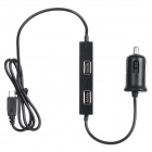 5-in-1 3.1A USB 4-Port Car Charger - Black (12~24V) - Gadgets and Auto Parts Car Accessories
