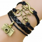 Bicycle & Camera Pattern Hand Woven Bracelet - Black + Bronze