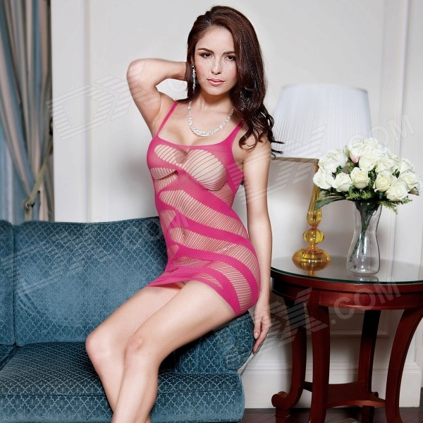 Sexy See-Through Mesh Alusvaatteet Nightdress w / G-String-Deep Pink