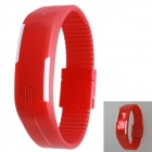 Sports Bracelet Unisex Rubber Band LED Waterproof Wrist Watch - Red