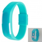 Sports Bracelet Unisex Rubber Band LED Waterproof Wrist Watch - Cyan