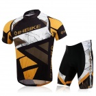 INBIKE Outdoor Cycling Polyester + Spandex Short-Sleeve Jersey + Short Pants - Black + Yellow (L)