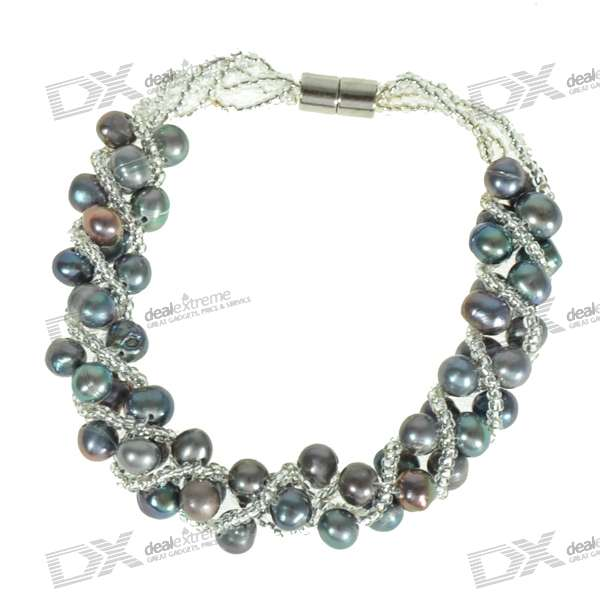 Elegant Silver Black Pearl Bridal Jewelry Bracelet s925 wholesale silver jewelry mens handmade in thailand silver buckle 6m dragonscale simple bracelet