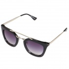 Stylish Retro Square Lens Dual-Bridge Sunglasses - Black