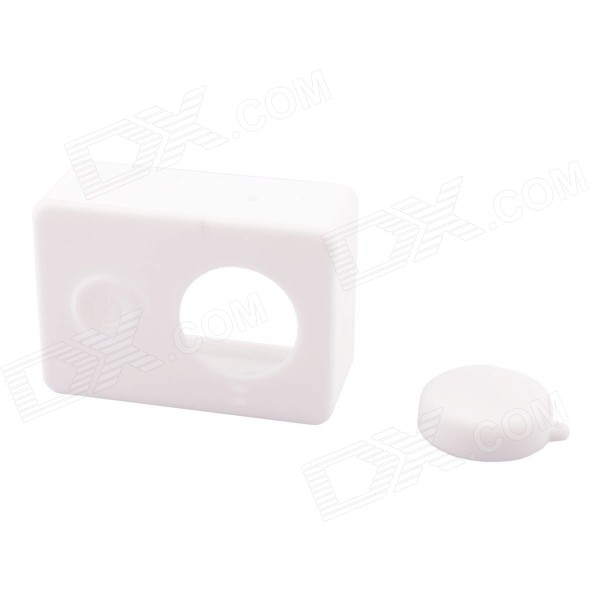 PANNOVO GP71 Silicone Shell Case + Lens Cap for Xiaomi Xiaoyi - White