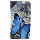 Butterfly Pattern Flip-open PU Leather Case w/ Holder + Card Slot for Samsung Galaxy S6 / G920
