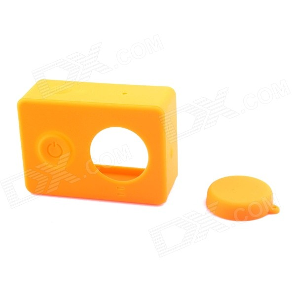 PANNOVO Silicone Case + Lens Cap for Xiaomi Xiaoyi - Yellowish Orange