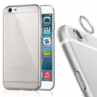 Protective TPU Back Case + Aluminum Alloy Lens Guard Ring Sticker for IPHONE 6 PLUS - Grey
