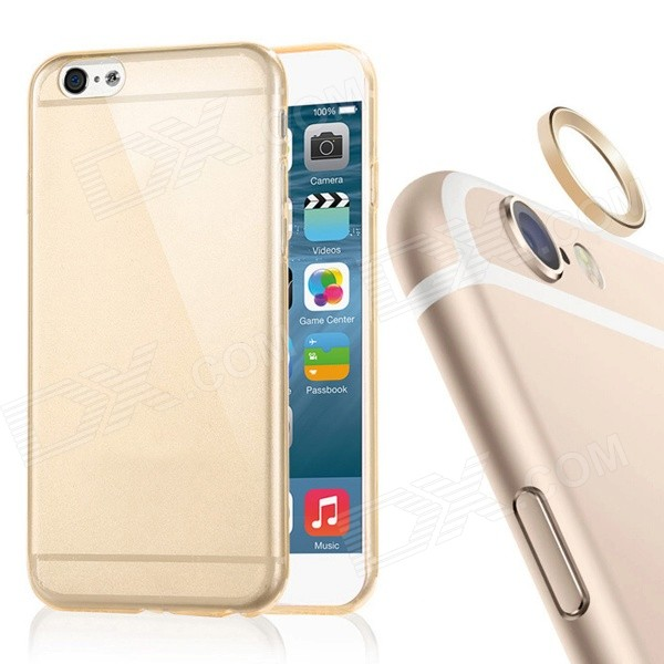 TPU Back Case + Lens Guard Ring Sticker for IPHONE 6Plus - Golden