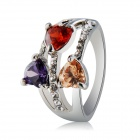 Xinguang Women's Three Heart Love Shaped Zircon Decorated Alloy Ring - Silver (US Size 8)
