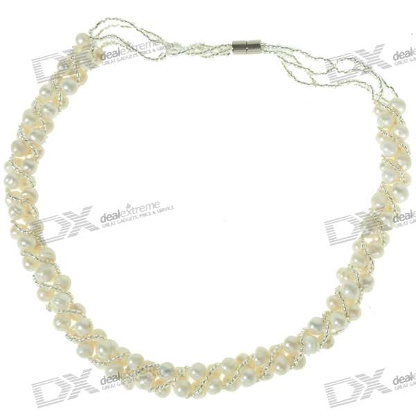 Фото Elegant Silver Pearl Bridal Jewelry Necklace 15""