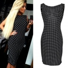 Fashion Polka Dot Pattern Women's Backless Sleeveless Dress - Black + White (M)