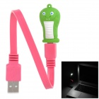 Cartoon Snake Style 8-LED White Light USB Light / Charging Cable - Deep Pink + Green