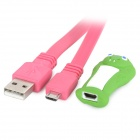 Snake Style 8-LED White USB Light / Charging Cable - Deep Pink + Green