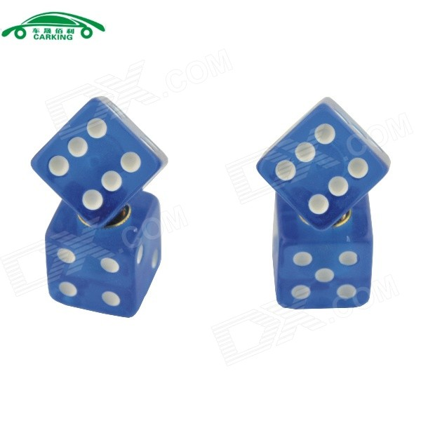 CARKING CS154 Car Cube Dice Style Tire Valve Cap - Blue ((4PCS)