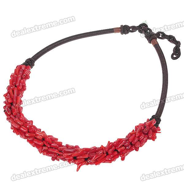 Фото Natural Red Coral with Silk Knot Design Necklace