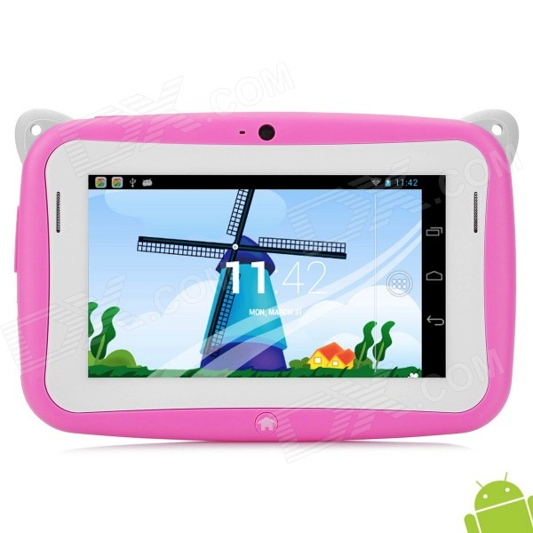 Kid R430W RK2926 Tablet Android w / 512MB, 2GB ROM - rosa + branco