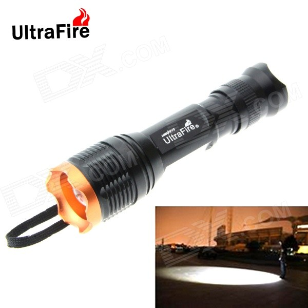 Ultrafire T6 900lm 5-Mode 10W LED zooming lommelykt - svart + golden