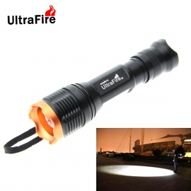 UltraFire Portable T6 900lm 5-Mode 10W 1-LED Zooming White Flashlight - Black + Gold (1 x 18650)
