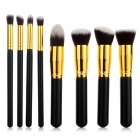 8-in-1 Wood Handle Nylon Fiber Cosmetic Make-up Brushes Set - Black + Golden