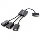 30-Pin Male to 3 x USB Female Adapter OTG Cable w/ USB Cable - Black