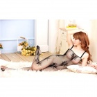 3D Embroidery Ultra Sexy See-Through Mesh Stocking Suit - Black