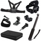 TOZ GP2-006K 5-in-1 Mount Accessories Kit for GoPro Hero 4 / 3+ / 3 / 2 / Sony + More - Black