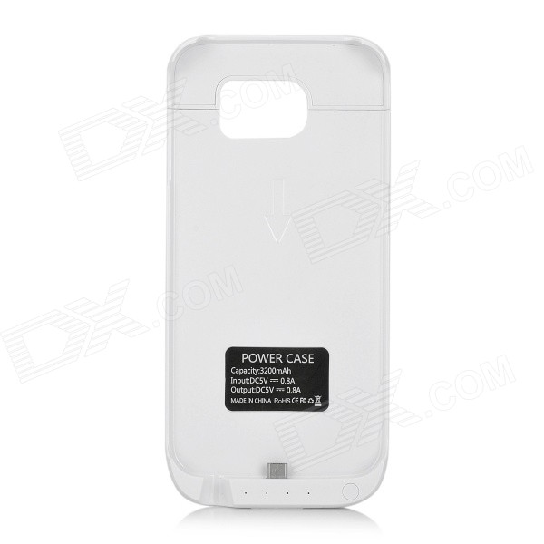 3200mAh Back Case Backup Battery for Samsung Galaxy S6 - White